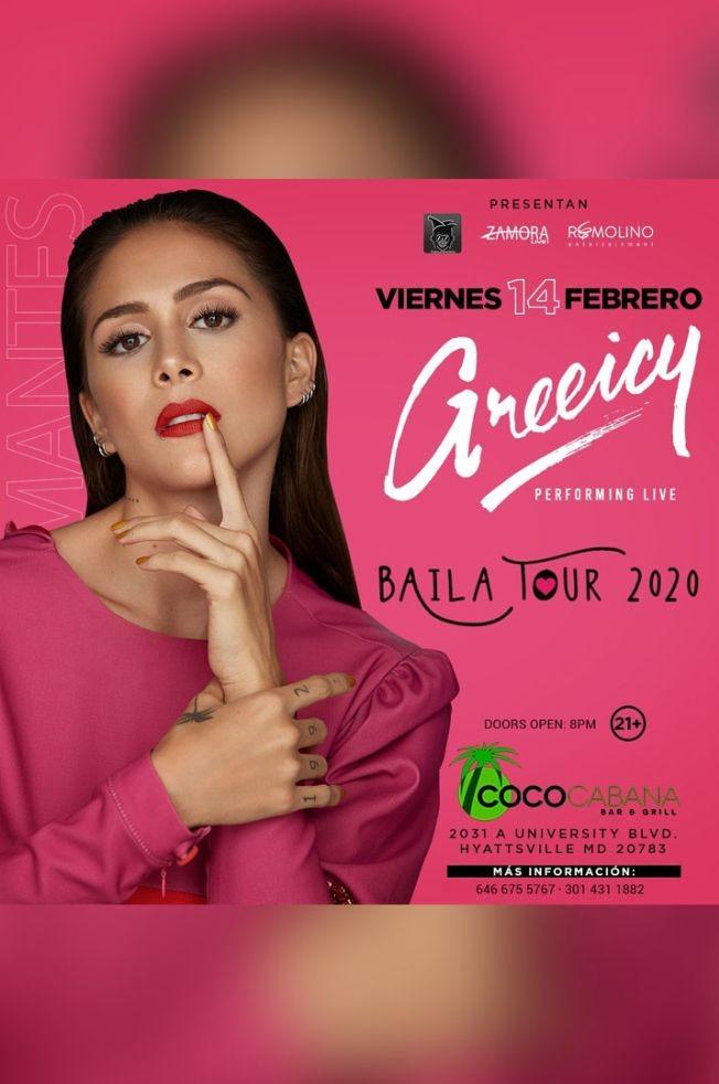 Flyer for Greeicy en Concierto! Baila Tour 2020