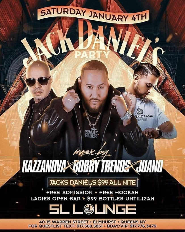 Flyer for Jack Daniels Party DJ Bobby Trends Live At SL Lounge