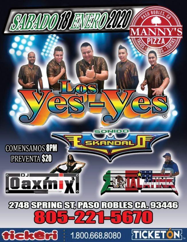 Flyer for Los Yes-Yes En Concierto En Paso Robles,CA