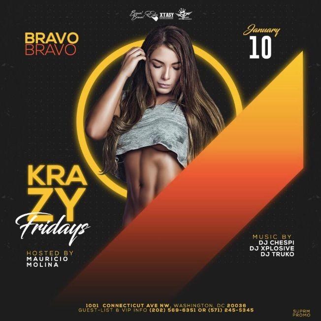 Flyer for KrazyFriday's Bravo Bravo