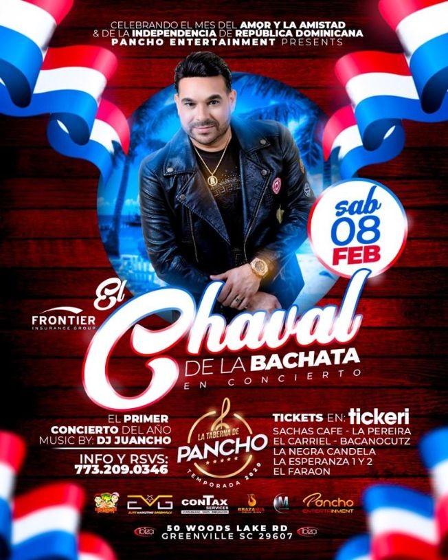 Flyer for El Chaval De La Bachata En Concierto En Greenville,SC