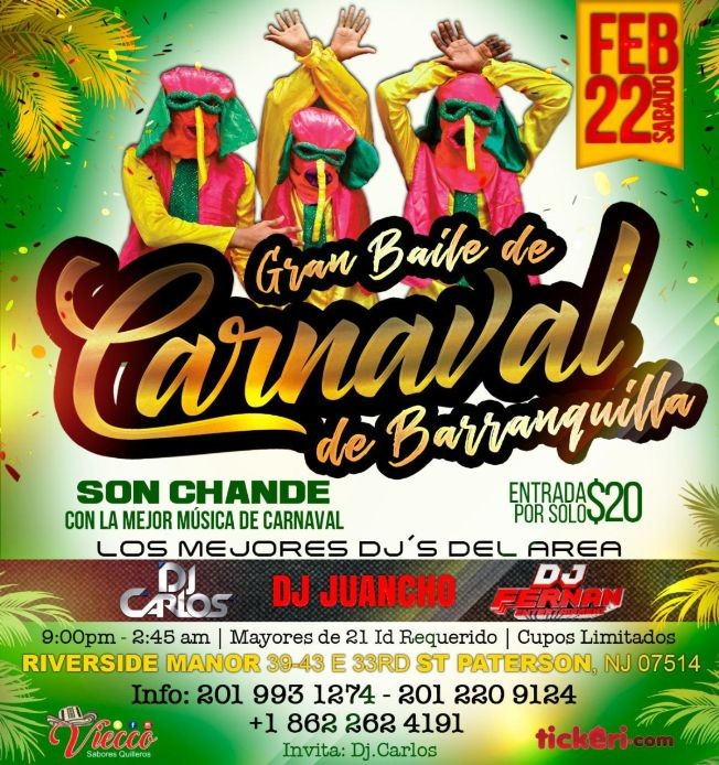 Flyer for Gran Baile Carnaval de Barranquilla  En Paterson,NJ