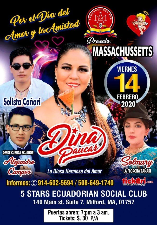 Flyer for Dina Paucar La Diosa Hermosa Del Amor En Milford,MA