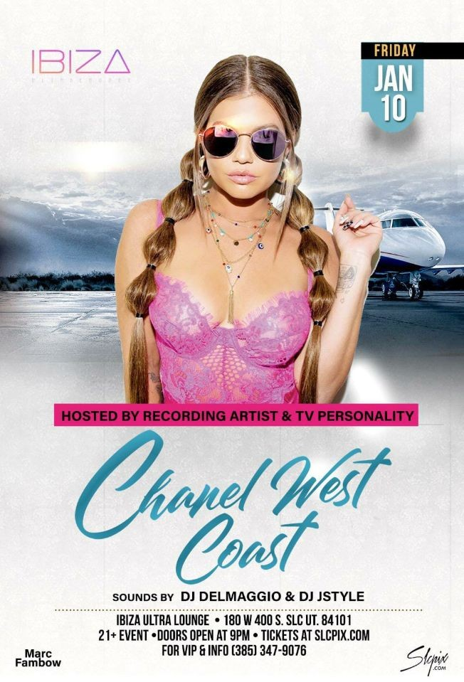 Flyer for Chanel West Coast Live at Ibiza Ultra Lounge!