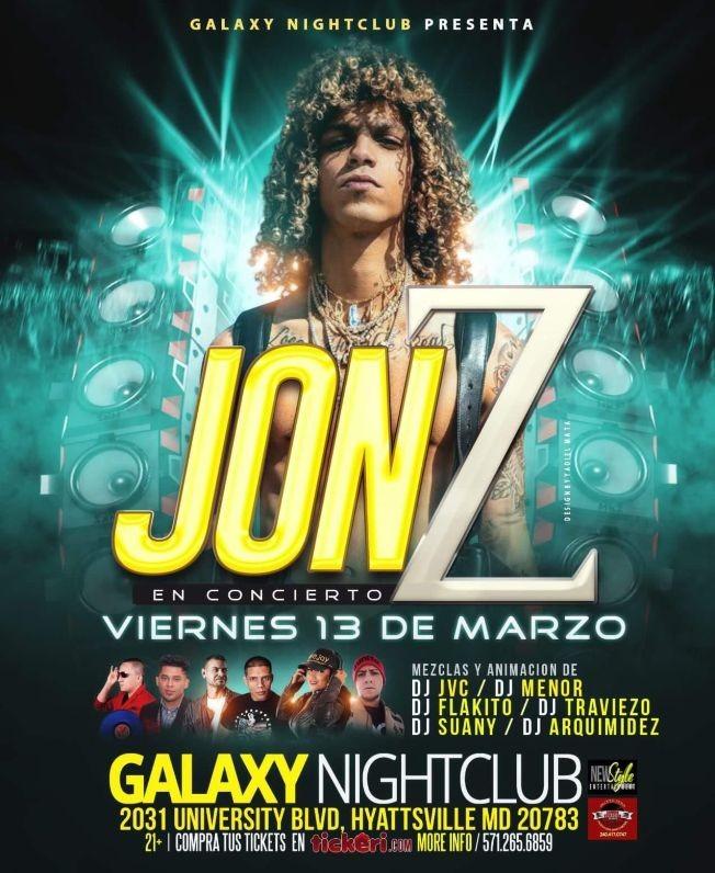 Flyer for Jon Z En Concierto  En Hyattsville,MD POSTPONED