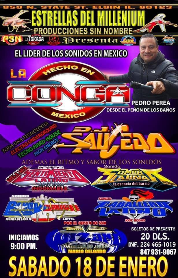Flyer for Sonido La Conga y Mas En Elgin,IL