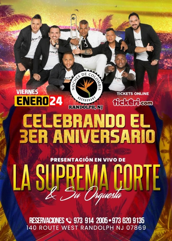 Flyer for Celebrando el 3er Aniversario Presentacion en Vivo la Suprema Corte y su Orquesta en Randolph,NJ