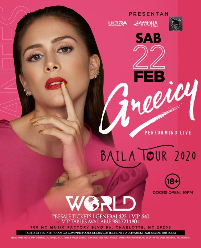 Flyer for Greeicy | Baila Tour 2020 | World Charlotte NC | 02.22.2020