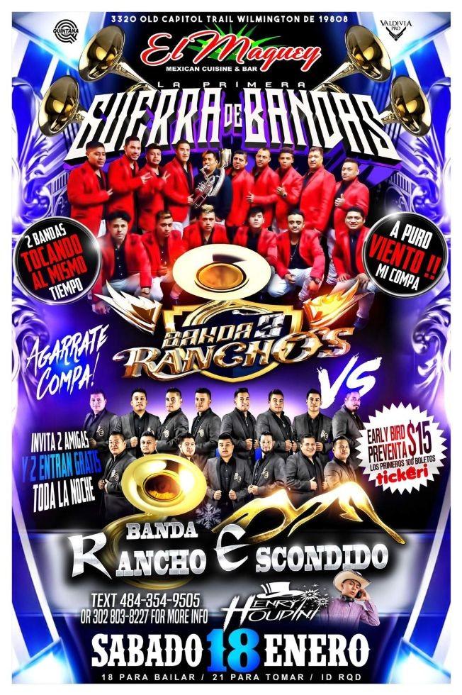 Flyer for GUERRA DE BANDAS 3 RANCHOS VS RANCHO ESCONDIDO