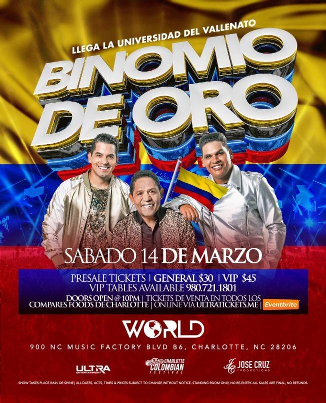 Flyer for EL BINOMIO DE ORO en Concierto, Charlotte NC NEW CONFIRMED DATE