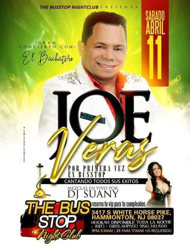 Flyer for Joe Veras en Hammonton, NJ POSTPONED