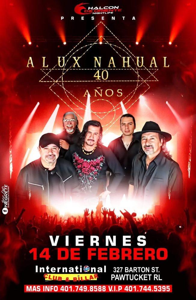 Flyer for Alux Nahual Gira 40 Años USA 2020 En Pawtucket,RI Reunión y fotos con el grupo solo con boleto VIP de 8 a 9 pm