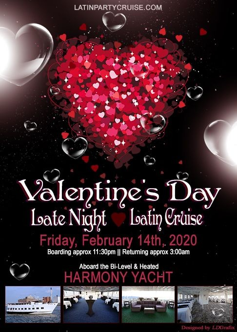 Flyer for Valentine's Day Late Night Latin Dance Cruise
