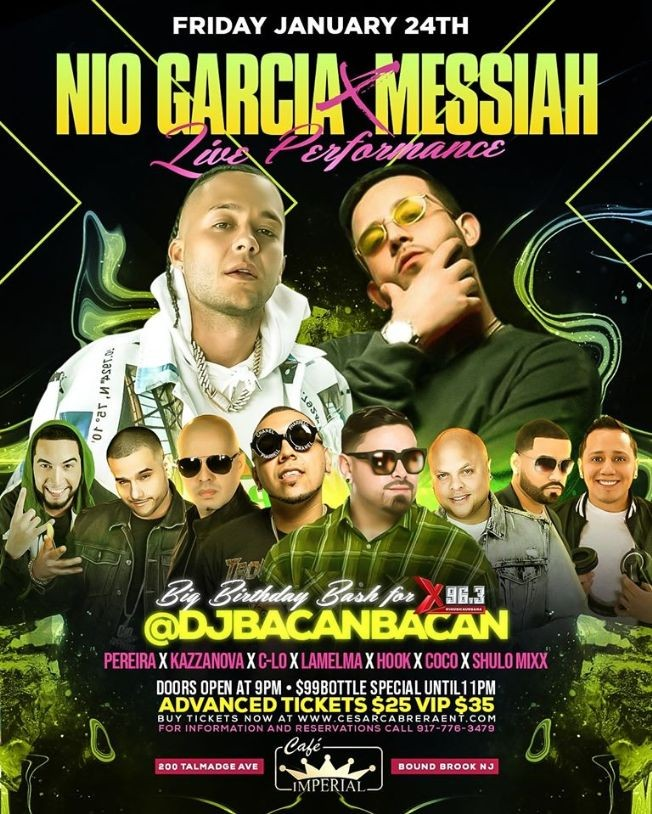 Flyer for Nio Garcia & Messiah Live At Cafe Imperial