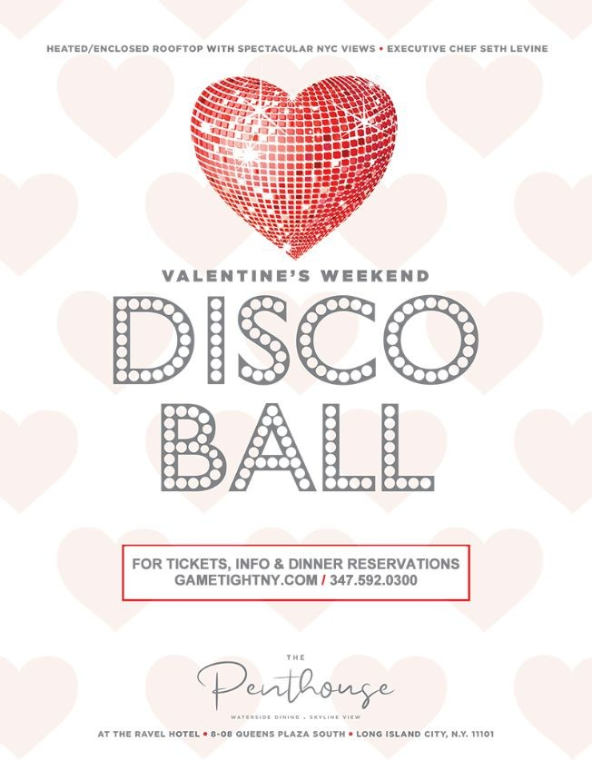 Flyer for Ravel Penthouse 808 Valentine's Day Waterside Dining & Disco Ball 2020