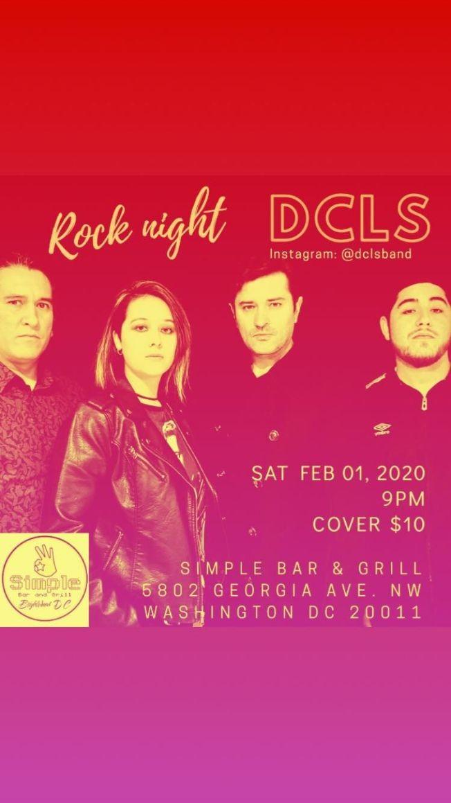 Flyer for DCLS Rock Concert @ Simple Bar & Grill