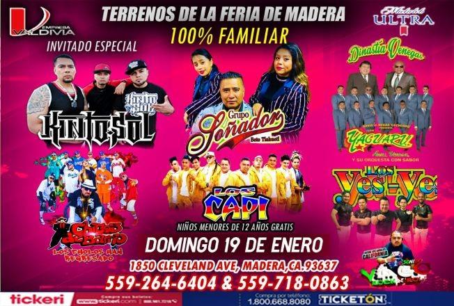 Flyer for Grupo Soñador,Kinto sol,Yaguaru y Mas En Madera,CA