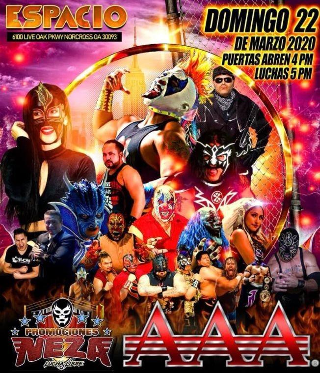 Flyer for Lucha Libre AAA En Norcross,GA POSTPONED