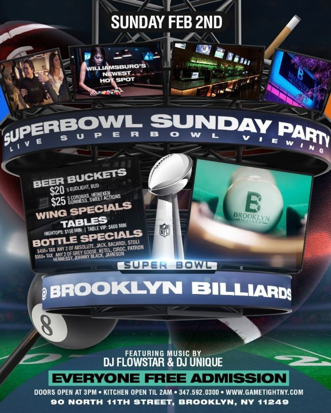 Flyer for Brooklyn Billiards Superbowl Sunday Viewing party 2020