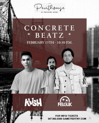 Flyer for Concrete Beatz featuring KVSH + Felguk live at the Penthouse 2020