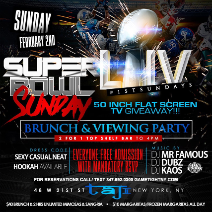 Flyer for Taj Lounge Superbowl Sunday Brunch & Viewing Party 2020