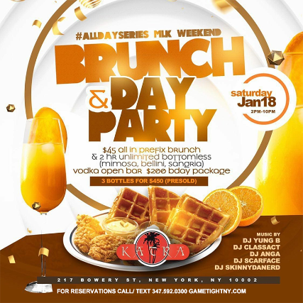 Flyer for Katra Lounge Saturday MLK Weekend Brunch & Day Party