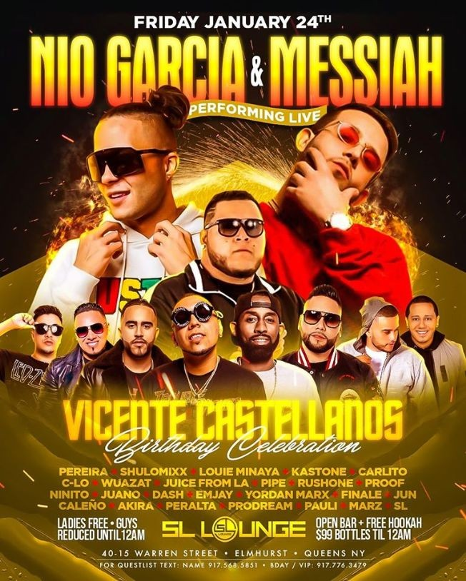 Flyer for Nio Garcia & Messiah Live At SL Lounge