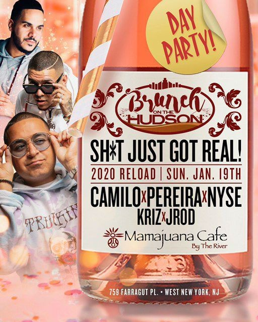 Flyer for Brunch On The Hudson MLK Weekend DJ Camilo Live At Mamajuana Cafe By The River