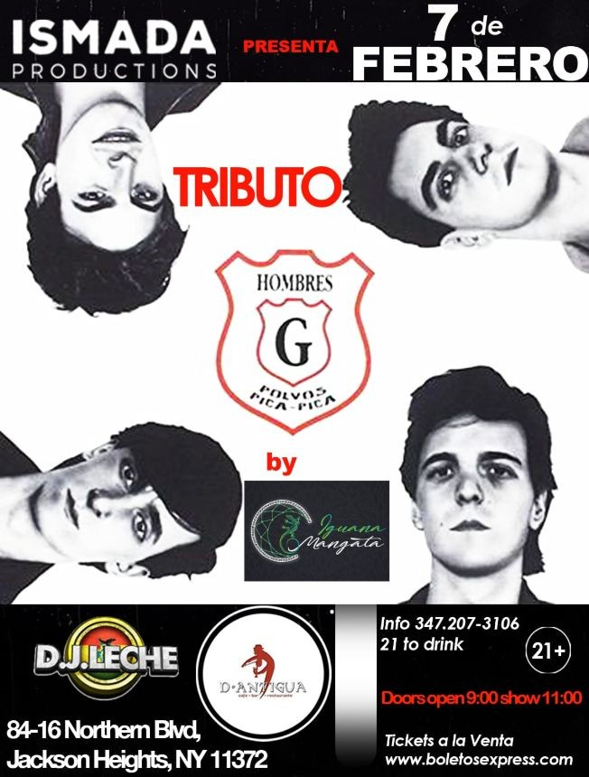 Flyer for Tributo Hombres G En Jackson Heights,NY