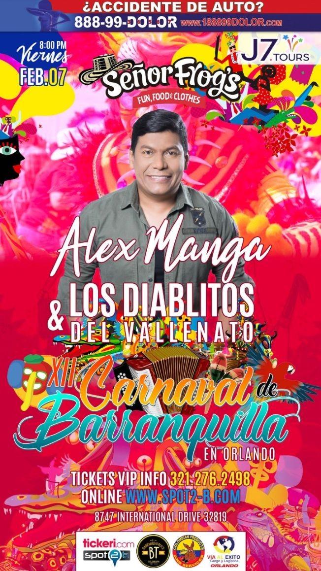 Flyer for carnaval de barranquilla en orlando con Los Diablitos del Vallenato
