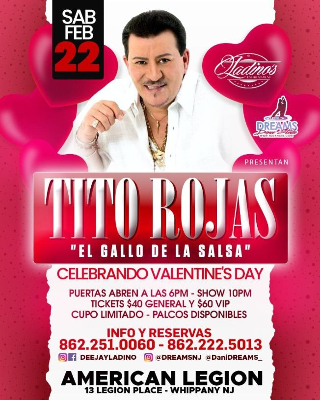 Flyer for Tito Rojas Celebrando Valentine´s Day
