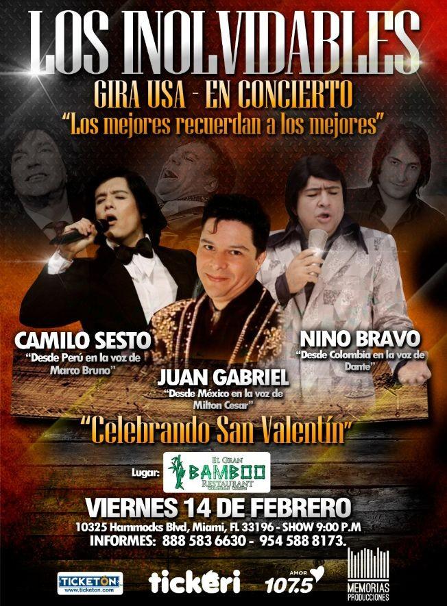 Flyer for Tributo Los Inolvidables Gira USA 2020 Camilo Sesto,Nino Bravo Juan Gabriel En Miami,FL