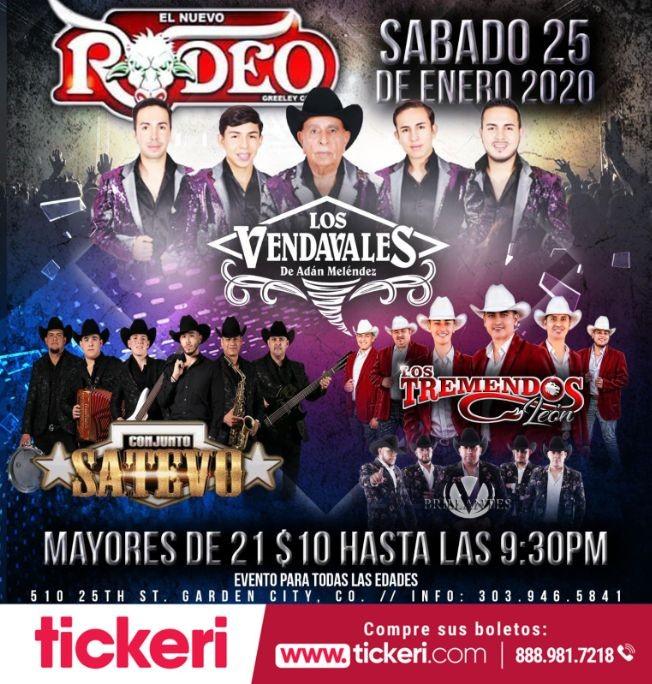 Flyer for Los Vendavales,Conjunto Satevo y Los Tremendos de Leon En Garden City,CO