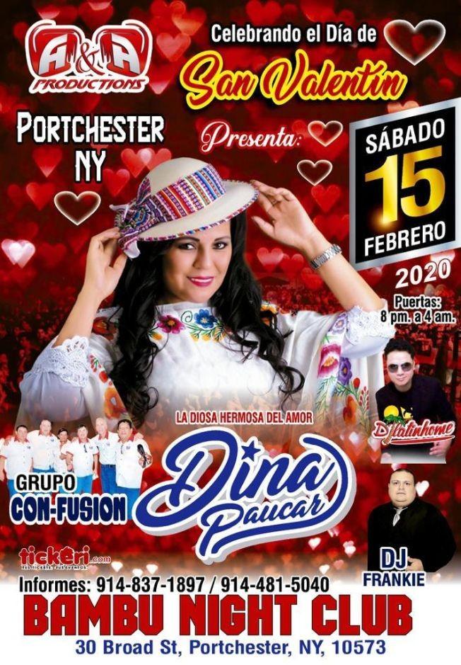 Flyer for Dina Paucar en Portchester,NY