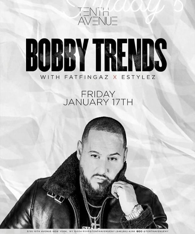 Flyer for Latin Fridays MLK Weekend DJ Bobby Trends Live At Tenth Avenue