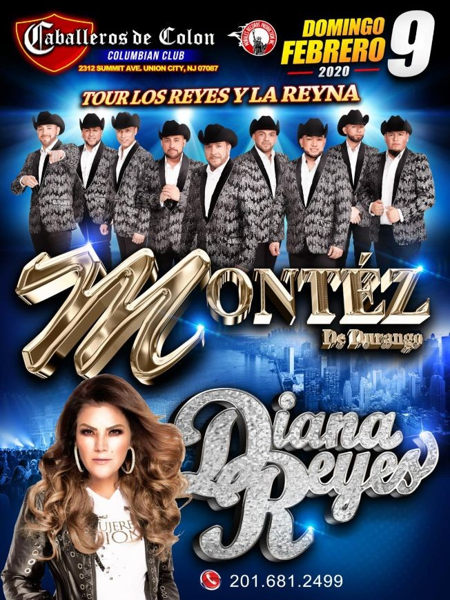 Flyer for Tour Los Reyes y La Reyna Con Montez De Durango y Diana Reyes En Union City,NJ