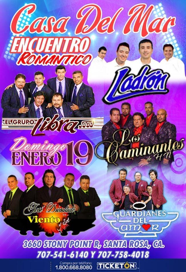 Flyer for Encuento Romantico 2020 Con Grupo Ladron,Libra,Los Caminantes y Mas En Santa Rosa,CA