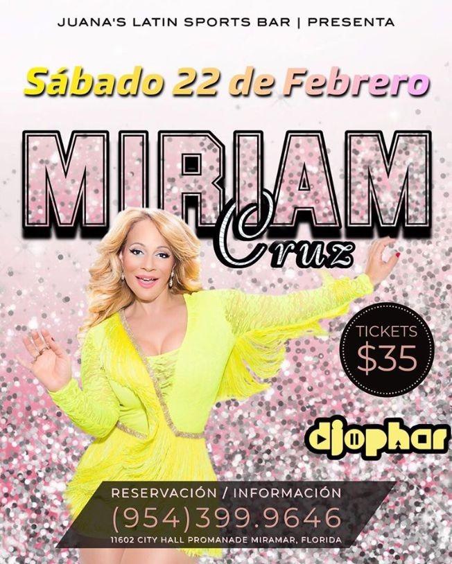 Flyer for Miriam Cruz En Concierto En Juana Sports Bar