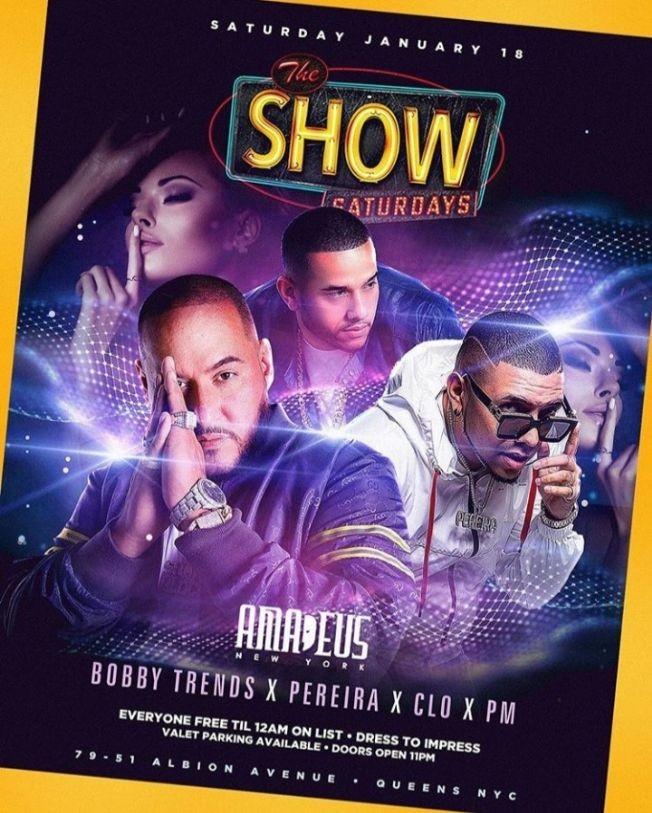 Flyer for Latin Saturdays MLK Weekend DJ Bobby Trends Live At Amadeus Nightclub