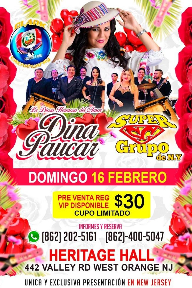 Flyer for Dina Paucar en Vivo en New Jersey!