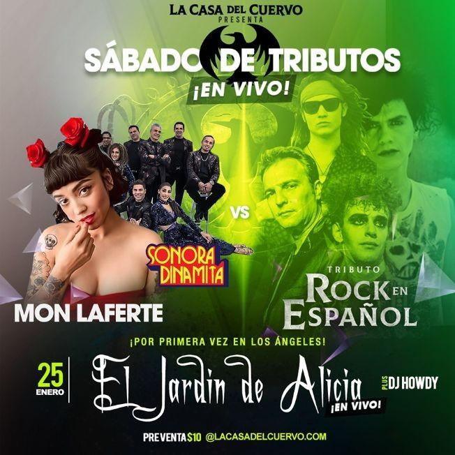 Flyer for MON LAFERTE Y LA SONORA DINAMITA VS TRIBUTO AL ROCK EN ESPANOL. EN VIVO POR PRIMERA VEZ EN LA