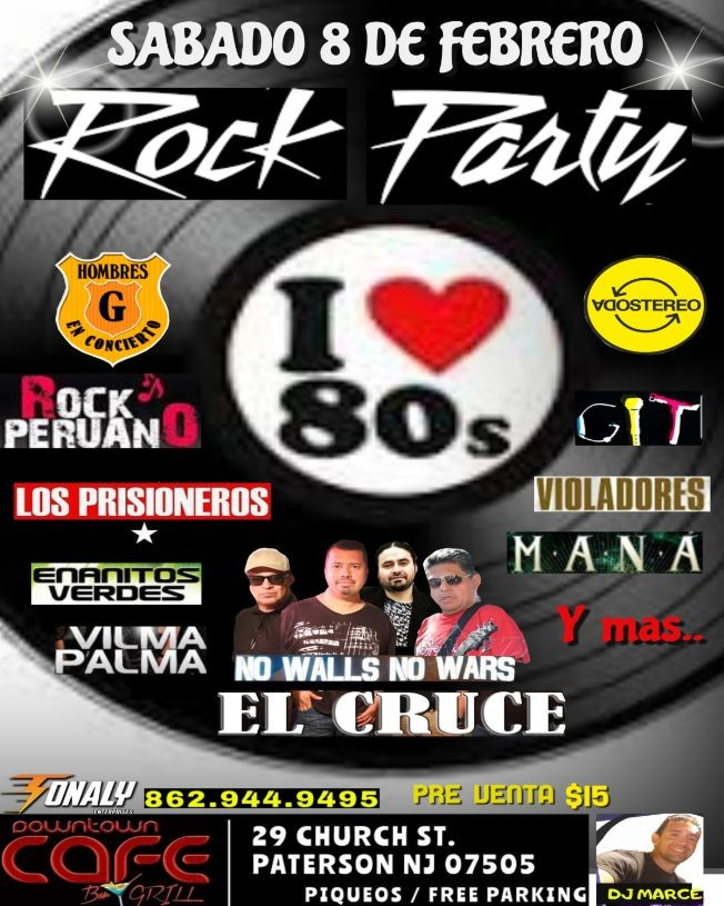 Flyer for Rock Party 80s by El Cruce