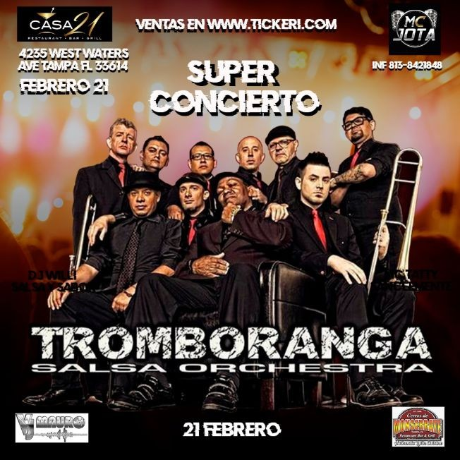 Flyer for Tromboranga Salsa Orchestra En Tampa,FL