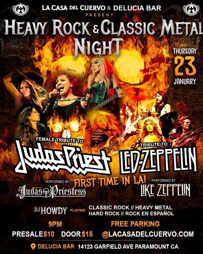 Flyer for Heavy Rock & Classic Metal Night En Paramount,CA