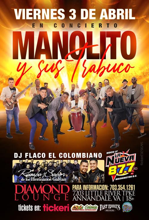 Flyer for Manolito y su Trabuco en Virginia