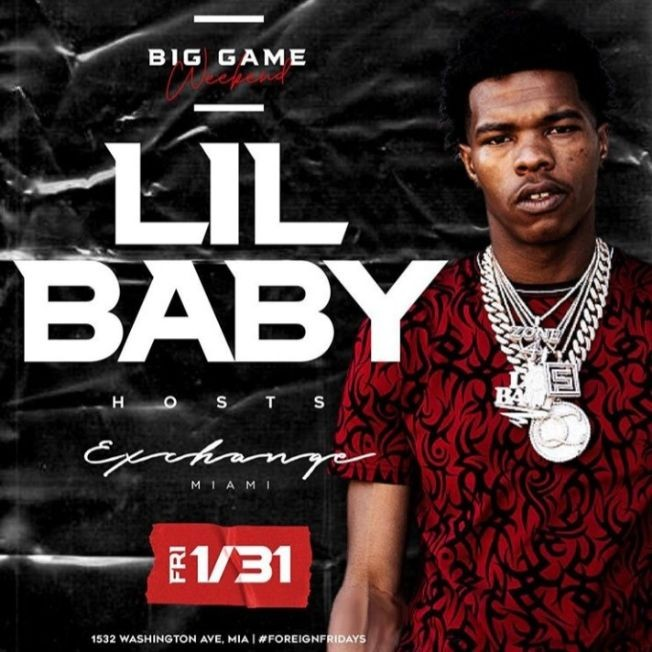 Flyer for Big Game Weekend Lil Baby Live At Exchange Miami