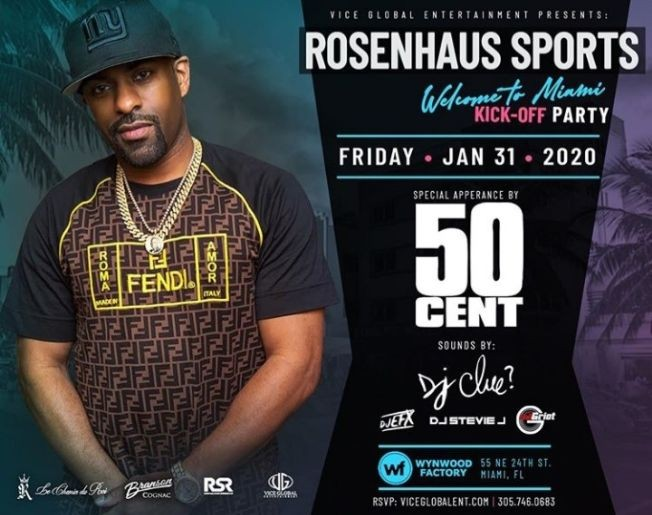 Flyer for Big Game Weekend 50 Cent Live With DJ Clue At Wynwood Factory