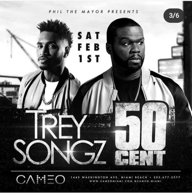 Flyer for Big Game Weekend Trey Songz & 50 Cent Live At Cameo Nightclub