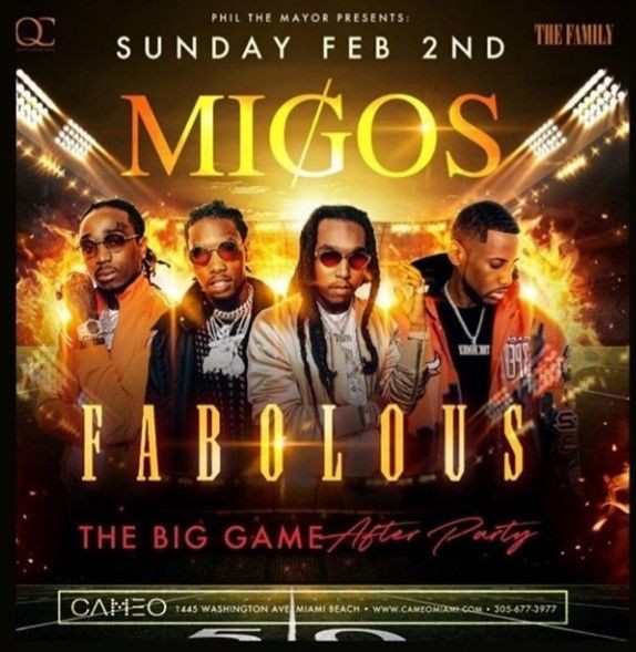 Flyer for Big Game Weekend Migos & Fabolous Live At Cameo Nightclub