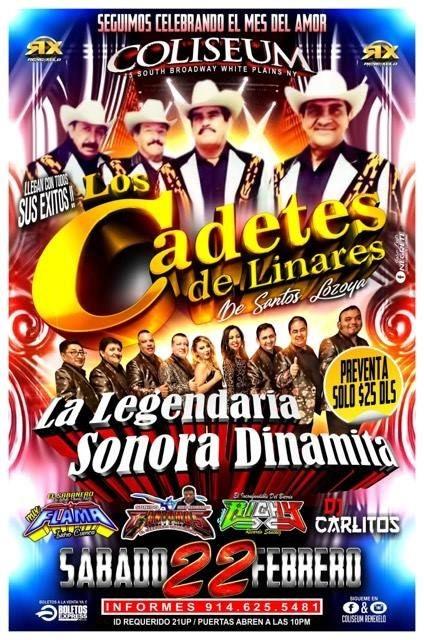 Flyer for Los Cadetes de Linares y La Sonora Dinamita en Vivo!